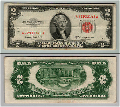 1953B $2 Dollar Bill  Us Note Legal Tender Paper Money Currency Red Seal P759