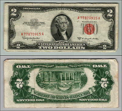 1953c $2 DOLLAR BILL OLD US NOTE LEGAL TENDER PAPER MONEY CURRENCY RED SEAL P574