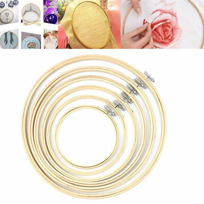 5pc Embroidery Hoop Frame Needlework Cross Stitch Bamboo Sewing 13/16/20/23/26cm