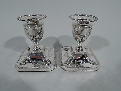 Victorian Candlesticks - Antique Regency Revival Pair - English Sterling Silver