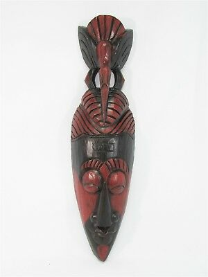 """Tribal Mask w/ Bird 20"""" Wooden Hand Carved & Painted Bali Indonesia Wood Black"""