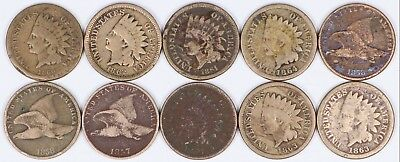 Lot of 10 Flying Eagle & Indian Head Cent 1C Copper-Nickel 1857-1864