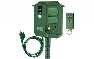 Outdoor Yard Stake Timer with Photosensor and Remote Control,6 Grounded Outlets