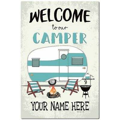 Personalized Camping Metal Sign - 8 x 12 Sign - Welcome Sign -  Vintage Camper