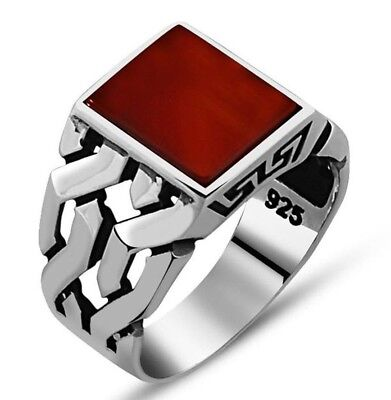f6f9b9a5956e3 TURKISH 925 STERLING Silver Popular agate aqeeq stone Mens mans ring ALL  SİZE us