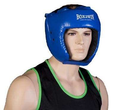 Boxing Leather Pro Protective Headguard Helmet Red or Blue Head guard kick