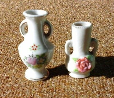 2 Vintage Hand Painted Miniature Vases Made In Occupied Japan