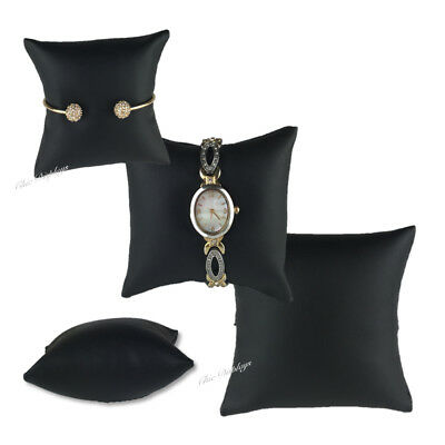 Lot Of 3 Black Leatherette Bracelet Pillow Display Showcase Watch Pillow Display