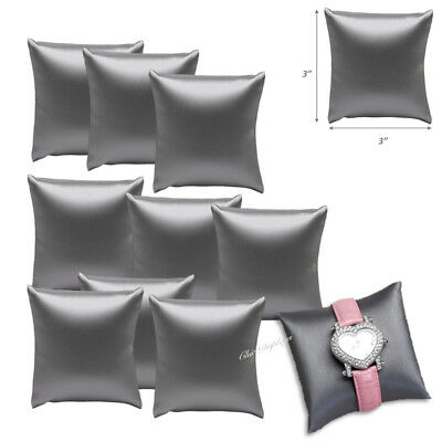 Lot Of 12 Gray Leatherette Bracelet Pillow Display Showcase Watch Pillow Display