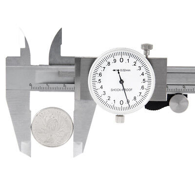 """0-6"""" Inch Stainless Steel 4-Way Measurement Dial Caliper 0.02mm Shock Proof USA"""