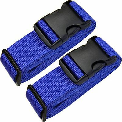 2 x Blue Adjustable Strong for Extra Safety Travel Suitcase Luggage Belt Straps