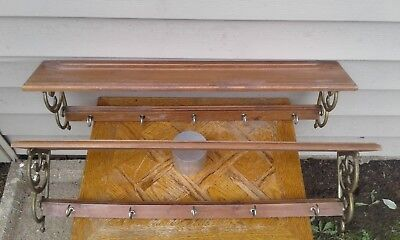Vintage Pair Of Solid Wood Wall Shelfs With Decorative Metal Ends & Hooks