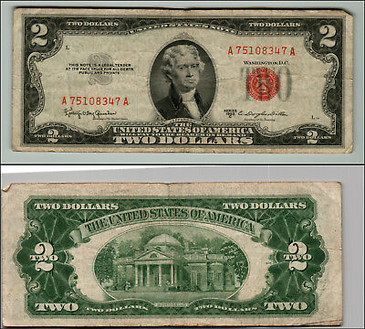 1953C $2 Dollar Bill Old Us Note Legal Tender Paper Money Currency Red Seal Z170