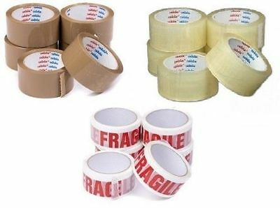 PREMIUM CELLOFIX LOW NOISE BROWN/ CLEAR/ FRAGILE PARCEL PACKING TAPES 48mm x 66M