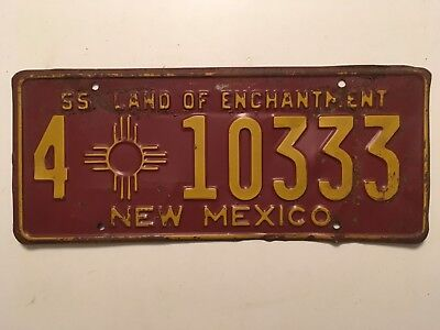 1955 New Mexico License Plate 100% All Original Paint
