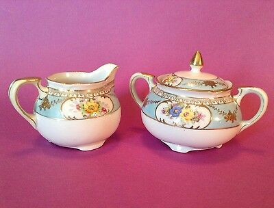 Noritake Footed Sugar Bowl And Creamer - Hand Painted Blue With Flowers - Japan