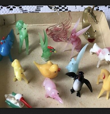 •Vtg. Occupied Japan GRADE A Handmade Miniature Glass 14 Figurines In Orig.Box