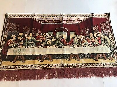 """Vintage """"The Last Supper"""" Tapestry Wall Hanging 38X23"""