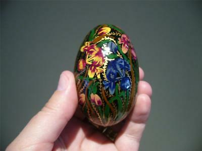Vintage Hand Painted Wooden Egg - Iris - Laquered And Gilt - Vgc
