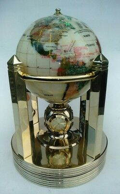 Alexander Kalifano Rotating Clock Smooth Mother of Pearl Gemstone Globe Goldtone
