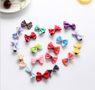 10/20Pcs  Baby Girls Hair Bows with Alloy Clips Small Bowknot Hair Accessories
