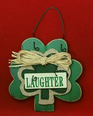 """Clover Shamrock Ornament Wood Green Laughter Wall Decor 5.5"""" St. Patrick's Day"""