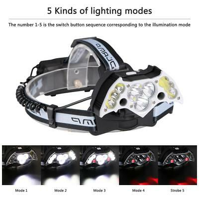200000LM T6 COB LED Headlamp USB Rechargeable Headlight Torch US+2*18650 Battery