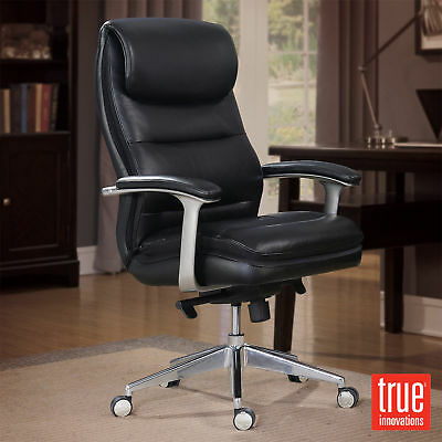 Pleasant True Innovations Black Leather Office Chair Manager Machost Co Dining Chair Design Ideas Machostcouk