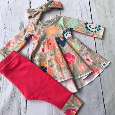 Cute Christmas Toddler Kids Baby Girl Floral Tops Dress Pants Outfits Clothes US