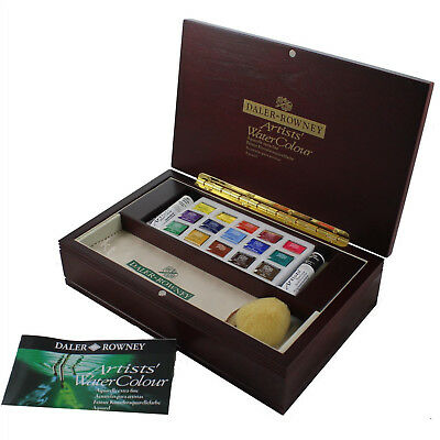 Daler Rowney Artists Watercolour Half Pan Wooden Box Small Art Gift Set