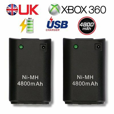 2x FOR XBOX360 Wireless Controller 4800MAH RECHARGEABLE BATTERY PACK CHARGER