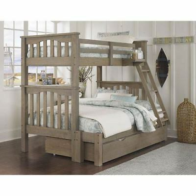 NE Kids Highlands Driftwood Harper Twin Over Full Bunk Bed with Trundle