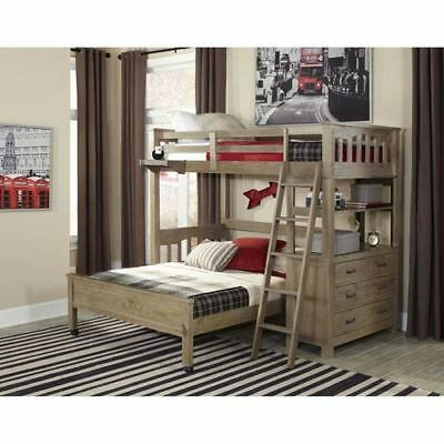 NE Kids Highlands Driftwood Twin Loft Bed with Full Lower Bed - 10070NLFB