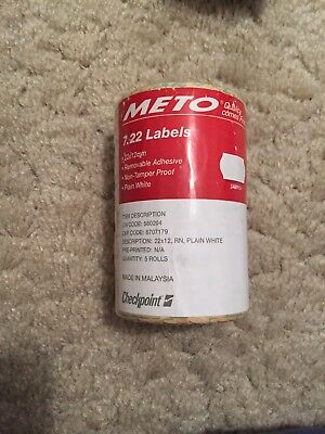 Meto 1 Line Price Labels Removable White 5 Pack