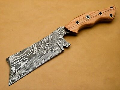 J.Anderson CUSTOM MADE DAMASCUS CLEVER CHOPPER - FULL TANG - OLIVE WOOD HANDLE