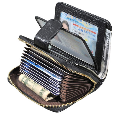 Women's RFID Credit Card Holder Organizer Case Leather Security Wallet US SHIP