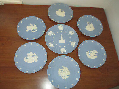 1976 Wedgwood blue Jasperware American Independence collection: 7 plates