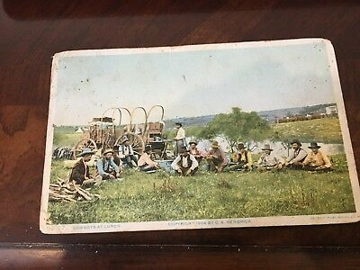 Cowboys at  LUNCH Western Life Postcard 1910