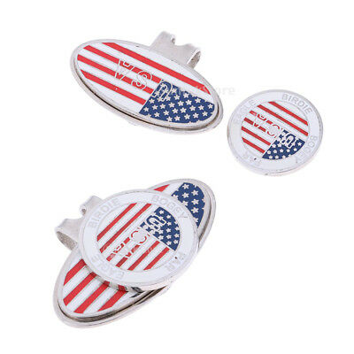 Count 2 Golf Ball Marker Souvenir With Hat Clip the Stars and Stripes Print