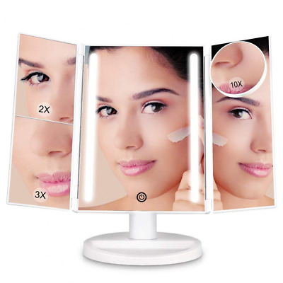 Makeup Vanity Mirror with 24 LED Lights 10x/3x/2x Magnifying Dimmable Trifold US