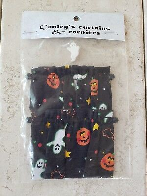 Vintage Dollhouse Miniature Halloween Valance Cafe Curtains Window Decor NOS
