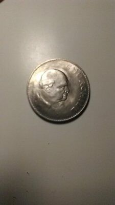 1965 Churchill Crown UK Great Britain England 5 Shillings Coin XF-AU Circulated