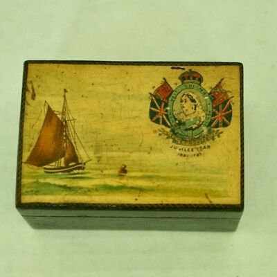 Wooden Sewing Box with Painted Top Celebrating Queen Victoria's Jubilee 1887