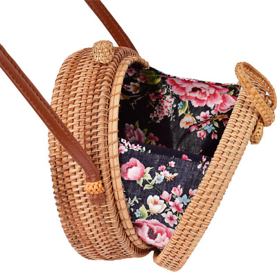 Round Rattan Bag, Handmade Bali Ata Straw Woven Circle Crossbody Handag NEW US