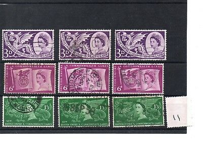 Gb - Wholesale Commems - 1958 - (011) - Commonwealth Games - Three Sets - Used