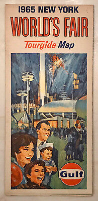 1964 1965 New York World's Fair Gulf Oil Tour Guide Map Very Good Condition