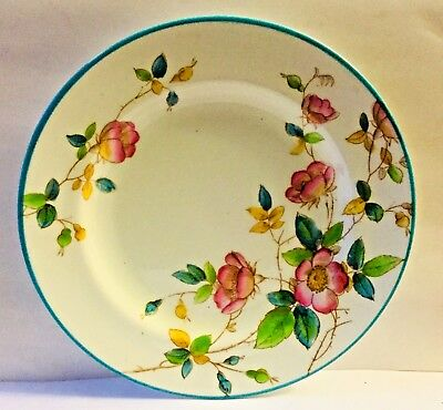 ANTIQUE 19th Century ENGLISH POTTERY PEARLWARE PINK FLOWERS, BLUE RIM * GORGEOUS