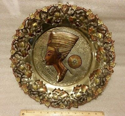 "ANCIENT EGYPTIAN BEAUTIFUL COPPER Plate Egyptian Queen Nefertiti 15"" Rare!"
