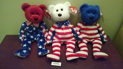 3 lot LIBERTY red~white~blue head Ty BEANIE BABY BEARS 4th of July Patriotic