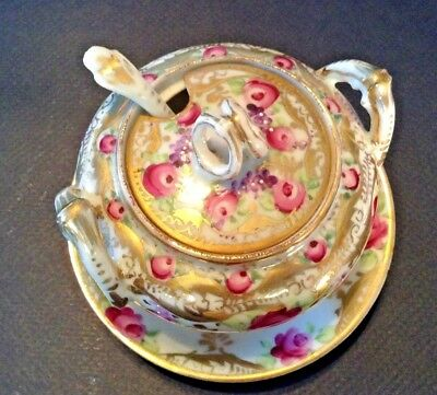 Hand Painted And Gilded Mustard Pot And Spoon - Roses And Violets - Nippon Japan